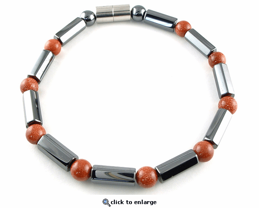 Hematite Magnetic Therapy Bracelet Goldstone Polygons