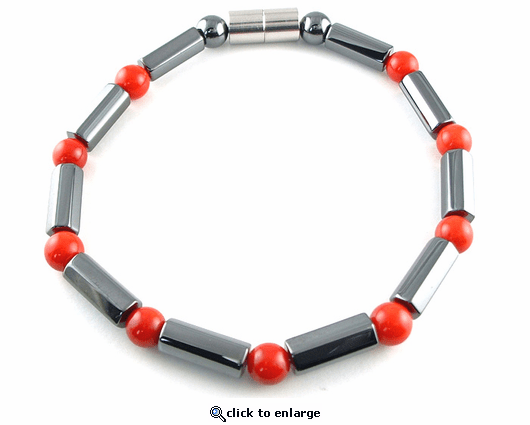 Hematite Magnetic Therapy Necklace Red Coral Polygons