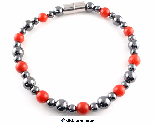 Hematite Magnetic Therapy Anklet Red Coral Rounders