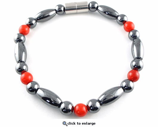 Hematite Magnetic Therapy Bracelet Red Coral Trey Rice