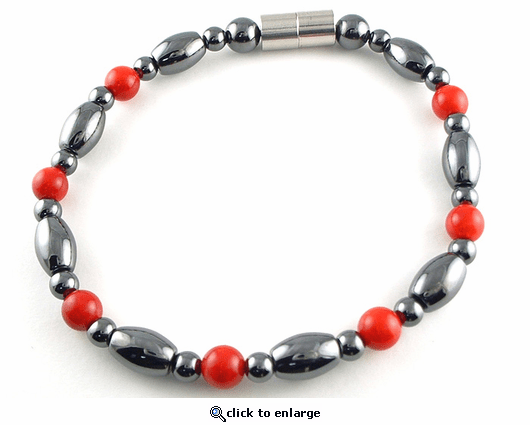 Hematite Magnetic Therapy Necklace Red Coral Venus