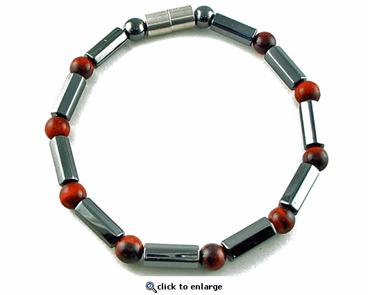 Hematite Magnetic Therapy Necklace Red Tiger Eye Polygons