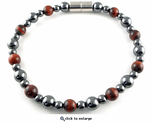 Hematite Magnetic Therapy Necklace Red Tiger Eye Rounders