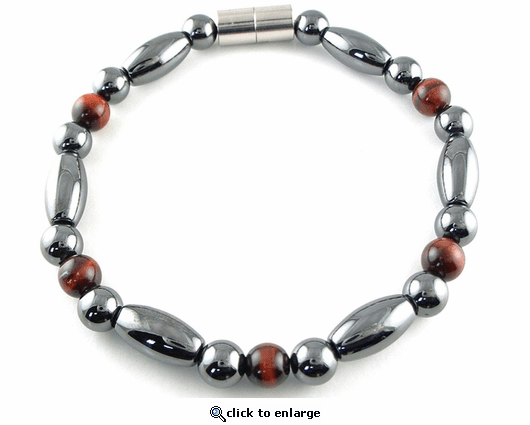 Hematite Magnetic Therapy Bracelet Red Tiger Eye Trey Rice