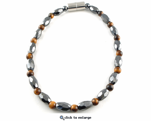 Hematite Magnetic Therapy Necklace Tiger Eye Petite Marquise