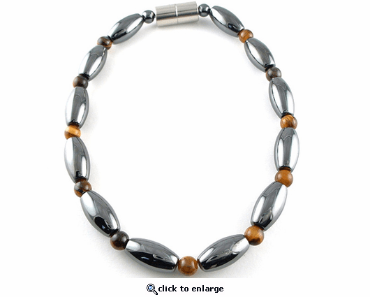 Hematite Magnetic Therapy Bracelet Tiger Eye Rice Duet