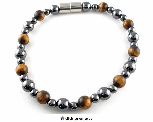 Hematite Magnetic Therapy Bracelet Tiger Eye Rounders