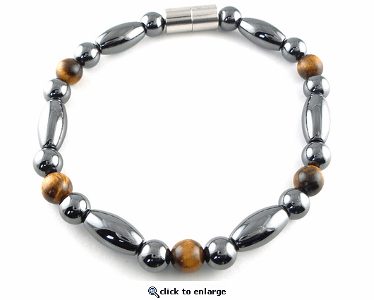 Hematite Magnetic Therapy Anklet Tiger Eye Trey Rice