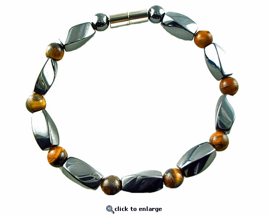 Hematite Magnetic Therapy Bracelet Tiger Eye Twister