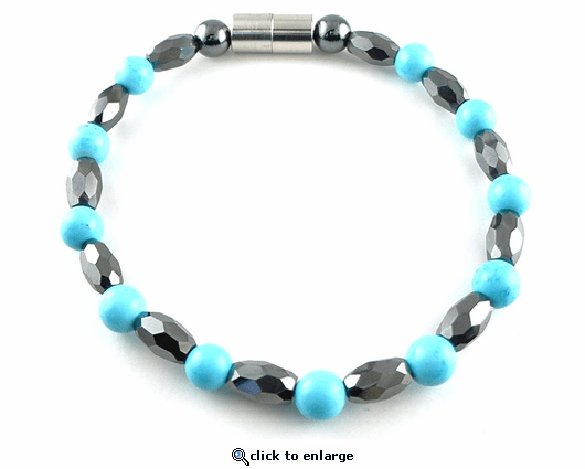Hematite Magnetic Therapy Necklace Turquoise Marquise