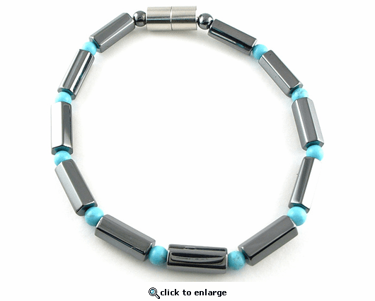 Hematite Magnetic Therapy Bracelet Turquoise Polygon