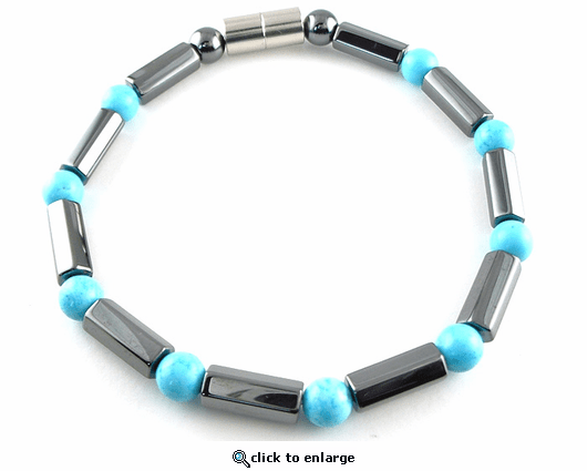 Hematite Magnetic Therapy Anklet Turquoise Polygons