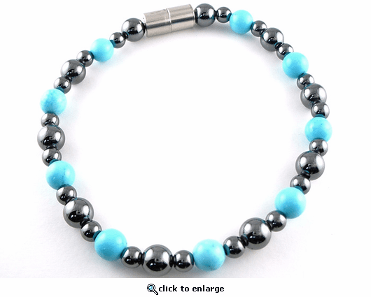 Hematite Magnetic Therapy Necklace Turquoise Rounders