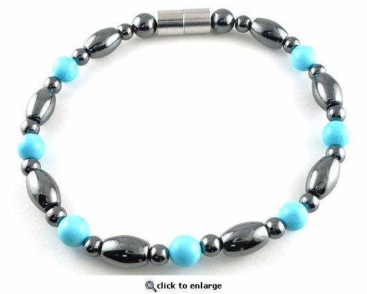 Hematite Magnetic Therapy Anklet Turquoise Venus