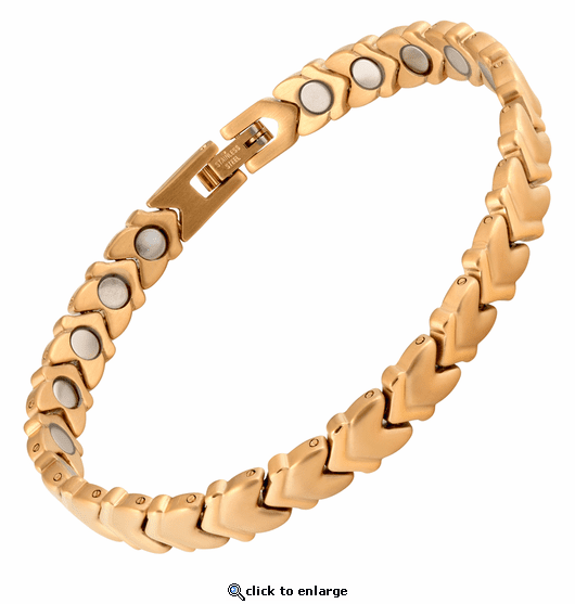 Magnetic Therapy Bracelet Stainless Steel Gold Chevron