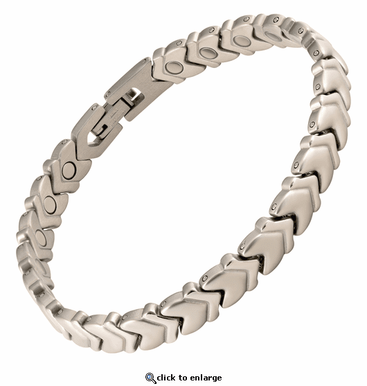 Magnetic Therapy Anklet Stainless Steel Silver Chevron