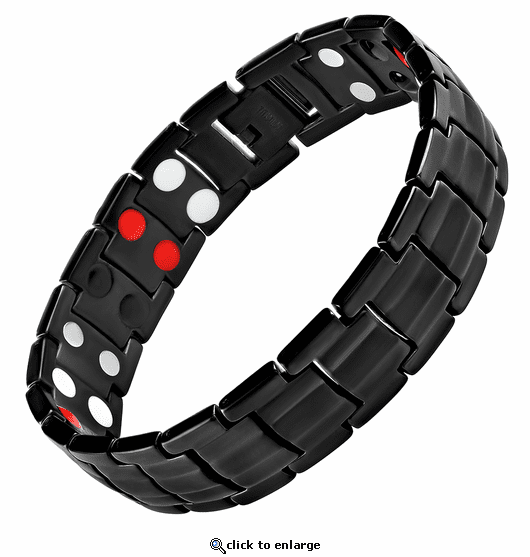Magnetic Therapy Bracelet Black Titanium 4 in 1