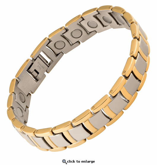 Magnetic Therapy Bracelet Stainless 2 Tone Steel Grand Case