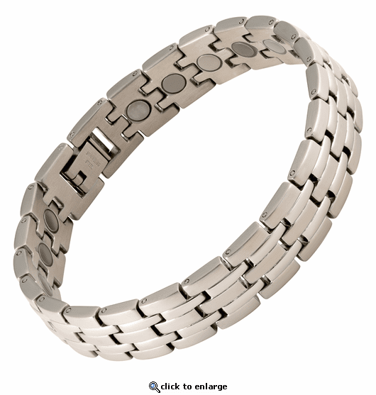 Magnetic Therapy Bracelet Stainless Steel Silver Stripes