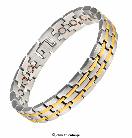 Magnetic Therapy Steel & Copper Bracelet 2 Tone Stripes