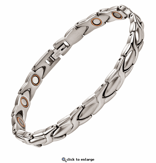 Magnetic Therapy Steel & Copper Bracelet Silver XOXO