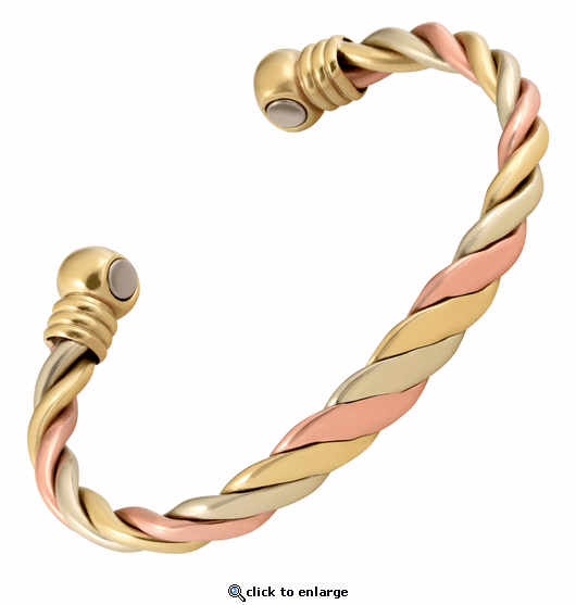 Triple Twist Cuff Copper Magnetic Therapy Bracelet