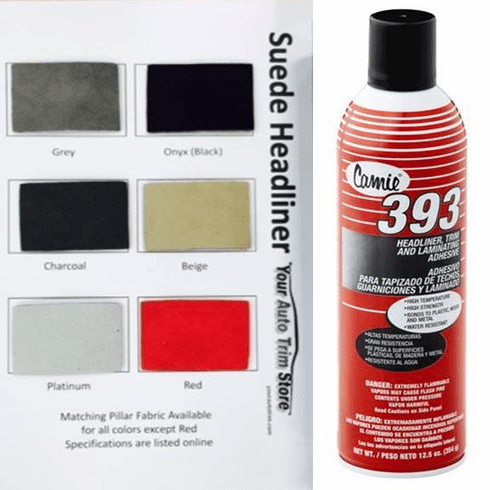 Suede Headliner Kit 90 inches by 60 inches Headliner Fabric and Two Cans Ahdesive