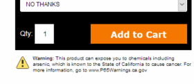California Proposition 65 Setup for Yahoo! Stores - Click to enlarge