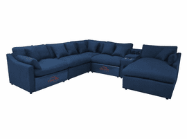 6pc Blue Power Sectional Sofa
