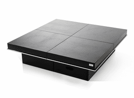 A&X Horizon - Modern Crocodile Black Coffee Table with Pull Out Squares