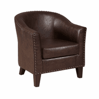 Accentrics DS-2278-900-2 Brown Faux Leather Barrel Accent Chair