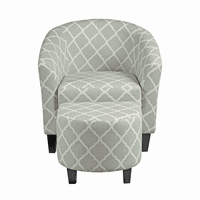 Accentrics DS-2278-900-5 Grey Uph Barrel Accent Chair & Ottoman
