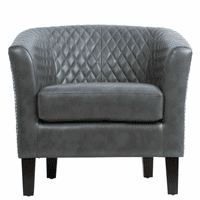 Accentrics DS-2515-900-1 Quilted Barrel Accent Chair - Gray