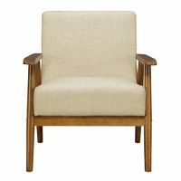 Accentrics DS-D030003-1 Mid Century Wood Frame Chair - Beige