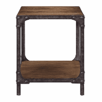 Accentrics DS-D084 Indstrl Wd & Metal Side Table
