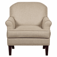 Accentrics DS-D153-700-538 Roll Arm Accent Chair in Linen