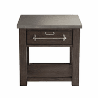 Accentrics DS-D192-208-2 Metal Top Dk Oak Side Table