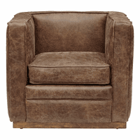 Accentrics DS-D229-712 Wood Base Channeled Leather Chair