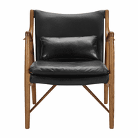 Accentrics P006201-1 Wood Frame Leather Sling Chair - Black