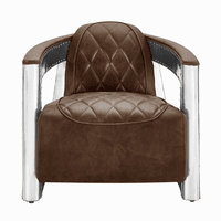 Accentrics P006207-1 Riveted Metal Frame Lthr Chair - Brown