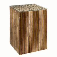 Bamboo Stick Side Table Base With Glass