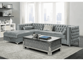 Bellaire Sectional Sofa  in Silver Velvet