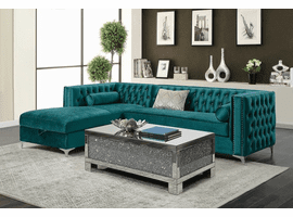 Bellaire  Sectional Sofa  in Teal Velvet Fabric