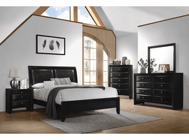 Black Leather Headboard Queen Bed Set