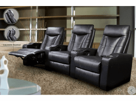 Black Leather Reclining Three Seat Home Theater Set