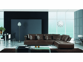 BO 3878   Contemporary Brown Leather Sectional Sofa