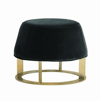 Cavo Ottoman - Small - Brushed Yellow Gold - Giotto Shale Grey