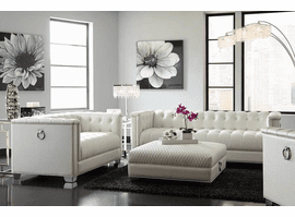Chaviano Pearl White Tufted Living Room Set