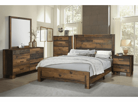 COASTER 223141Q-S4 Sidney Rustic Pine Panel Bedroom Set (QUEEN BED, DRESSER, MIRROR AND NIGHT STAND)