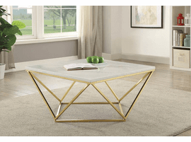 COASTER  700846 COFFEE TABLE OPULENT FAUX CARRERA MARBLE